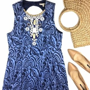 Nanette Lepore open back blue beaded shift dress